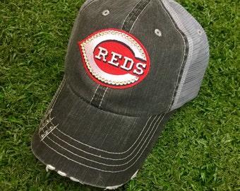 Cincinnati Reds Baseball Bling Swarovski Ladies Womens Trucker Hat