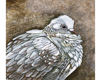 "Christian Wall Art - Dove Art Print of Original Painting - Christian Art - 8 1/2""x11"" Print"