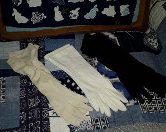 Vintage Gloves Black Nude Ivory Mid Century Accessory Lot