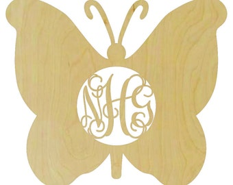 Butterfly with Monogram Insert - Butterfly Monogram, Monogram Butterfly, Wooden Butterfly, Butterfly Insert - M102270
