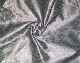 15% off One yard silver grey dupioni silk blend