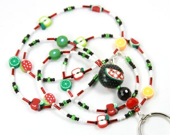 FRUITY - Beaded Badge Holder, Beaded Lanyard, Fruit Lanyard
