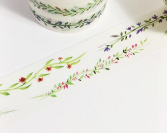 Floral Vine Washi Swag Green Red Purple Blue Floral Swags Washi Tape 5.5 yards 5 meters 20mm
