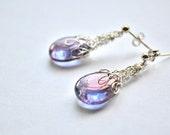 Purple Blue Czech Glass Tear Drop with Fine Silver Wire  Hand Knitted Web Earrings