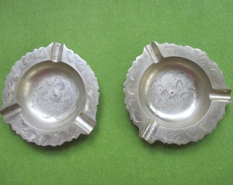 Set of two Hand-carved Brass Ashtrays or Trinket Dishes