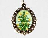 Christmas Tree Necklace, Holiday Jewelry, Xmas, Bronze Oval Pendant