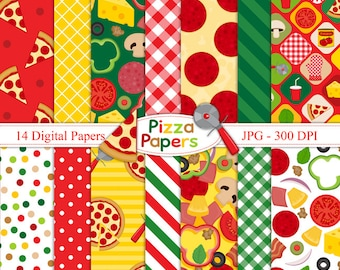 Pizza Papers- Digital paper set - Pizza Party