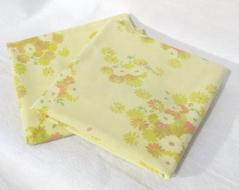 Pair (2) of vintage sheet pillowcases - yellow with small bunches of flowers