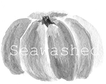 SEAWASHED PUMPKIN Watercolor Print Autumn French Nordic Country Living Coastal Cottage Seawashed Living Home Decor