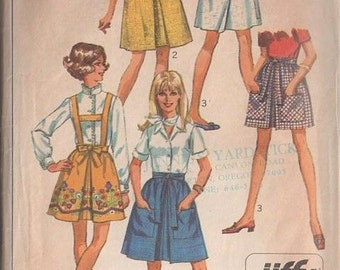 "Simplicity 8126 Vintage 60s Mini Wrap Skirt Sz 6 -15 Uncut Sewing Pattern 23"" thru 29"""