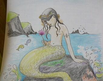 little mermaid original art nursery art sketch drawing cards prints available