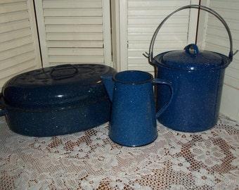 3 pcs blue graniteware enamelware, roaster, pitcher and bean pot w lid Farmhouse decor...Reduced..Was 32.99