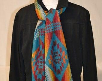 Scarf Wool scarf handmade of TURQUOISE Native American Wool 11 x 62  tribal arrows - Indoor (fashion) - Outdoor (warm)