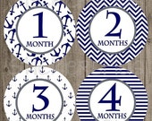 SALE Monthly Baby Boy Milestone Stickers Navy Anchor Anchors Nautical Chevron Baby Shower Gift PRECUT Bodysuit Baby Stickers Baby Months