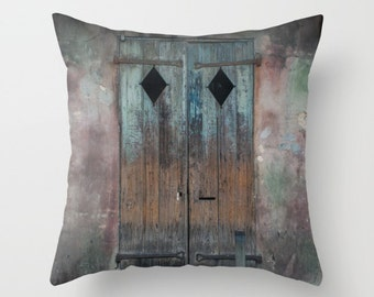 Door Throw Pillow, Boho Decor, New Orleans Home Decor, Rustic Couch Cushion, Blue Pillow Cover, Large Throw Pillow, French Quarter, Old Door