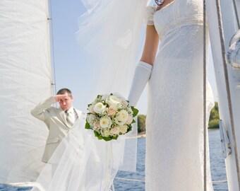 Cascade Floor Length Bridal Veil Model Josephina