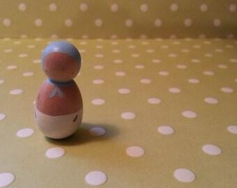 Peg Doll Baby - Blue Hat