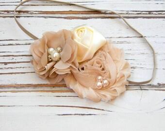 Baby Chiffon Headband - Baby Champagne Headband - Shabby Chic Ivory Chiffon Headband - Ivory Baby Headband - Taupe Baby Headband
