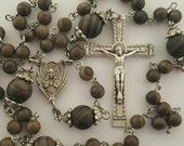 Rosary, Sacred Heart of Jesus, Wood Marble, Five Decade, Traditional, Strong Stainless Steel, Handcrafted Gemstone Rosary, BelladonnasShoppe
