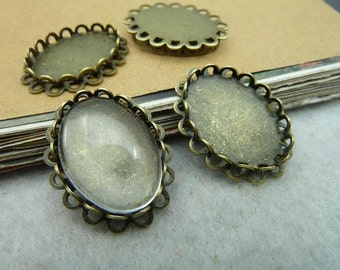 10 pcs   Antique Bronze Vintage  Oval Lace Cameo Cabochon Base Settings inner 13x18mm tabD377-1