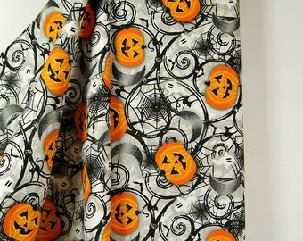 HALLOWEEN FABRIC Spider Webs Ghosts and Pumpkins! By A.E. Nathan, 100% Cotton Fabric, Great for Crafting, Costumes, Sewing, Quilting!