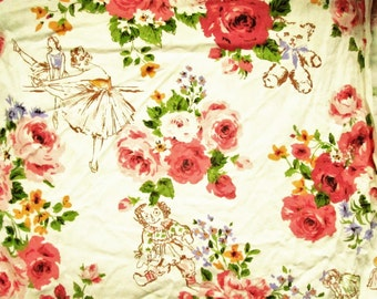 Vintage Cotton Novelty Fabric, Ballet, Teen Age Girls, Rag Doll, Pink Roses