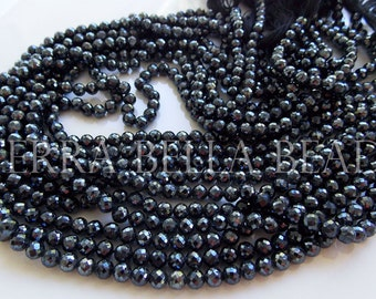 """13"""" strand silver mystic-coated black SPINEL faceted ROUND gem stone beads 4mm - 4.5mm"""