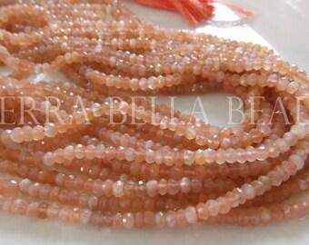 Full 13 inch strand peach orange MOONSTONE faceted gem stone rondelle beads 4mm