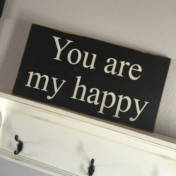 Large Wood Sign - You are my happy - Subway Sign - Farmhouse Sign - Happy - Love - Home Decor - Inspiration - Gallery Wall