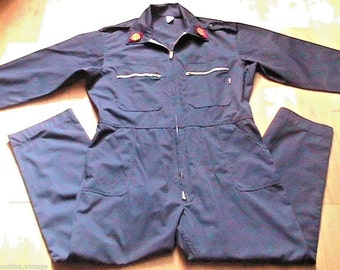 French 1960s Vintage Men Uniform Workwear Overalls & Patches - Black Cotton - Made in France - XL