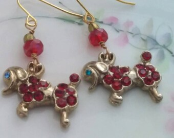 POODLES ON PARADE  antique vintage assemblage earrings