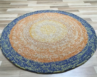 new handcrochet round wool rug, 42 inches in diameter, yellow, orange and purple