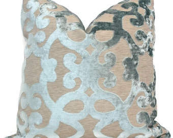 Aqua Cut Velvet Trellis Pillow Cover 18x18, 20x20, 22x22, Eurosham or  Lumbar pillow cover, throw pillow, accent cushion, toss pillow
