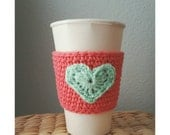 Crochet Coffee Cup Sleeve Valentines Day Crochet Cup Sleeve in Coral and Mint