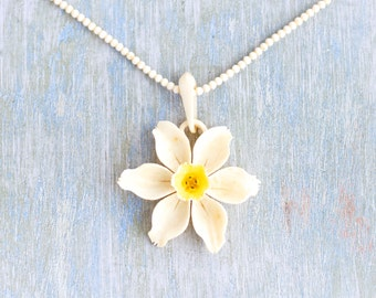 Edelweiss Necklace - Antique Carved Celluloid Alpine Flower