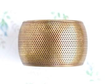 Wide Brass Cuff Bracelet - Boho Oxidized Bracelet