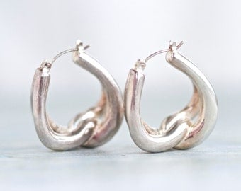 Hoop Earrings Sterling Silver - Vintage 80's Jewelry