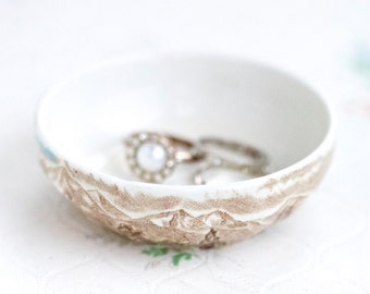 Porcelain Ring Holder - Ring Dish - Westmorland Made in England by Wood and Sons - Trinket Dish - Tiny bowl - Boho Home Decor
