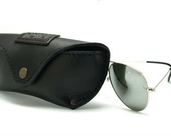 Elegant handmade leather case to be able to fit Ray Ban or Aviator which is about 13.5cm length Reading glass covers free initials