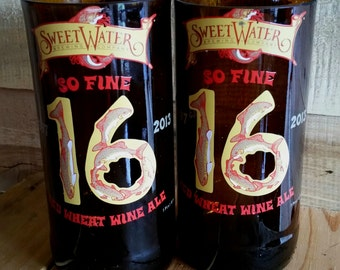 Pair of 2 Sweetwater Brewing So Fine 16 Beer Bottle Glasses