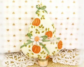"Fabric Tree Ornament 5"" Free Standing Tree, Autumn Fall Halloween Bowl Fillers Primitive Favors Decorations CharlotteStyle Home Decor"