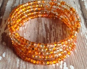 Memory Wire Bracelet in Shades of Orange E Beads- Citrus