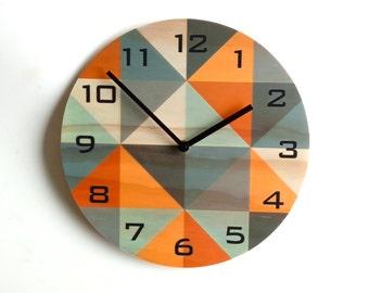 Objectify Grid Orange-Grey Plywood Wall Clock With Black Numerals - Medium Size