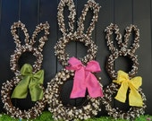 Bunny Wreath - Easter Wreath - Spring Wreath - Choose Bow Color-