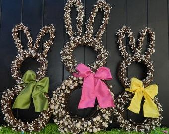 Bunny Wreath - Easter Wreath - Spring Wreath - Choose Bow Color-