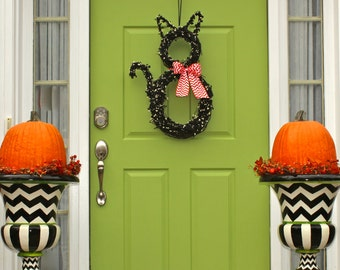 Halloween Wreath - Cat Wreath - Original Wreath - Fall Wreath - Autumn Door Decor