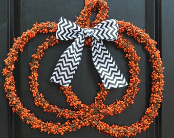 Pumpkin Wreath - Halloween Wreath  - Jack O Lantern Wreath - Choose Bow - Ready To Ship