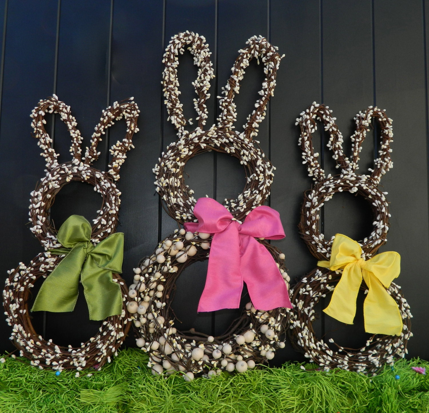 Bunny wreath easter wreath spring wreath choose bow - Deco table de paques ...
