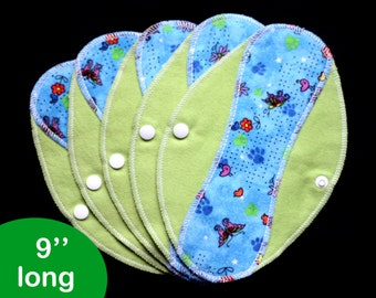 Pantyliners 9'' - Butterflies and paws - Washable - Reusable coth pads - Eco-friendly