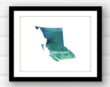 Vancouver, British Columbia art | Vancouver print | watercolor Canada art | watercolor country print | travel poster | British Columbia art